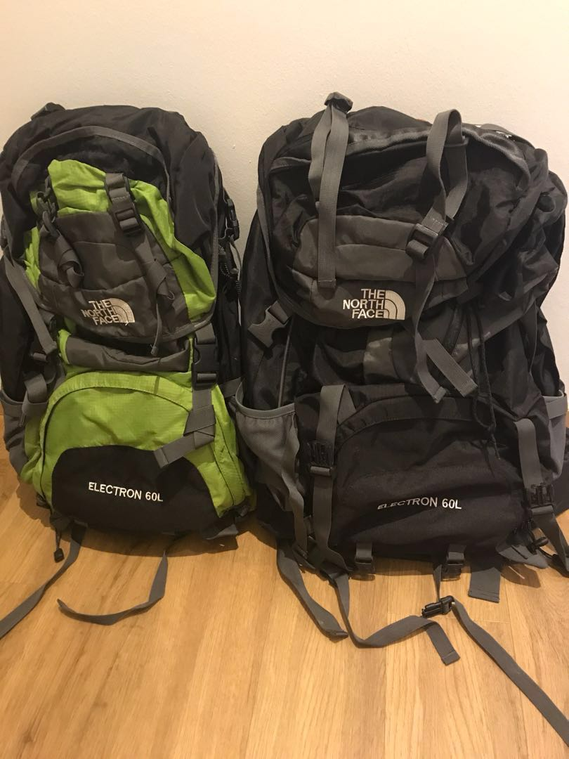 ce1ecaec5 2x North Face Electron 60L Backpacks c/w Raincovers, Sports, Sports ...