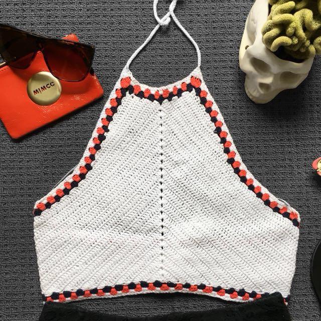 🆕 White crochet halter crop top