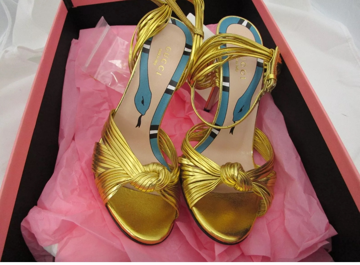 Authentic Gucci Allie knot gold heels