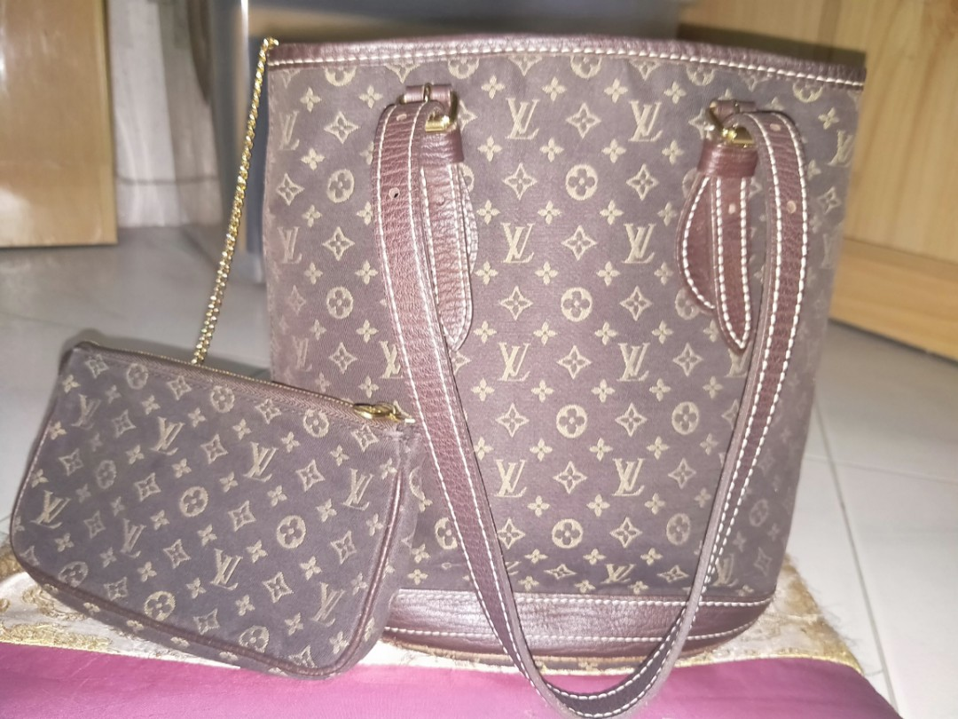💯Authentic LV (Louis Vuitton) Ebene Monogram Mini Lin Bucket PM ... 7d46d75191be7