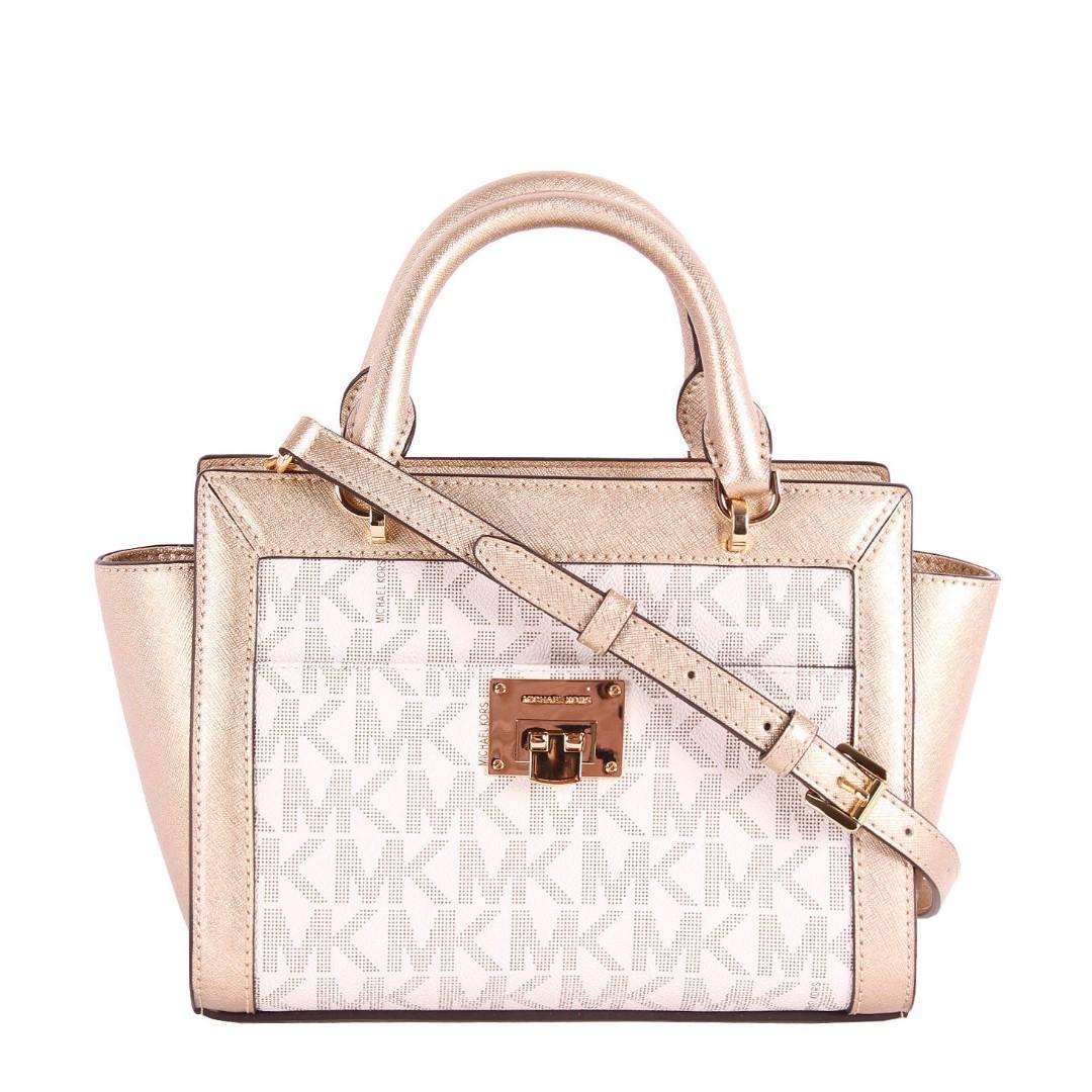 b327668a98f6 Authentic NWT Michael Kors Tina Small Top Zip Satchel Handbag Crossbody  Brown MK Cherry (70%OFF)