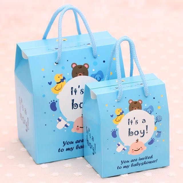 Baby Shower Party Door Gift Favors Box Carrier Bag Design Craft