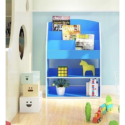 BN New Kids Bookshelf Children Book Shelf With Large Capacity Storage Space Bookcase Open Face Wooden Wood Books Stationery Magazines Others On