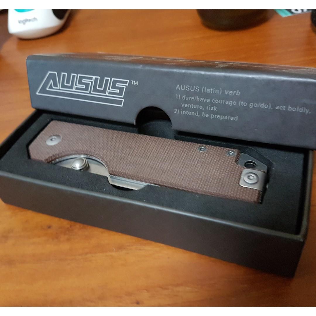 BN StatGear Ausus knife - D2, liner lock, brown micarta scales