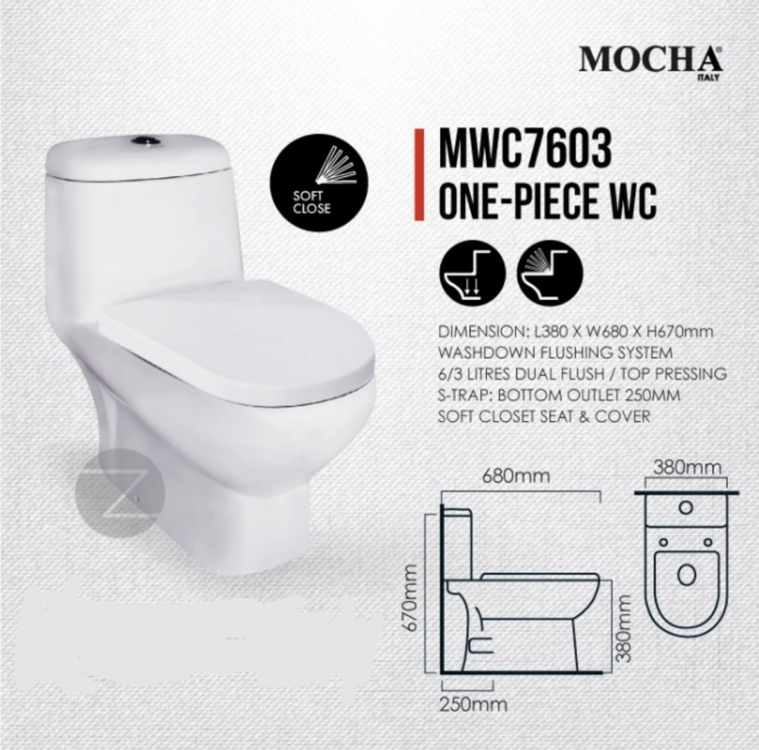 Brand New One Piece Toilet Bowl - S-Trap 250mm (10), Health & Beauty ...