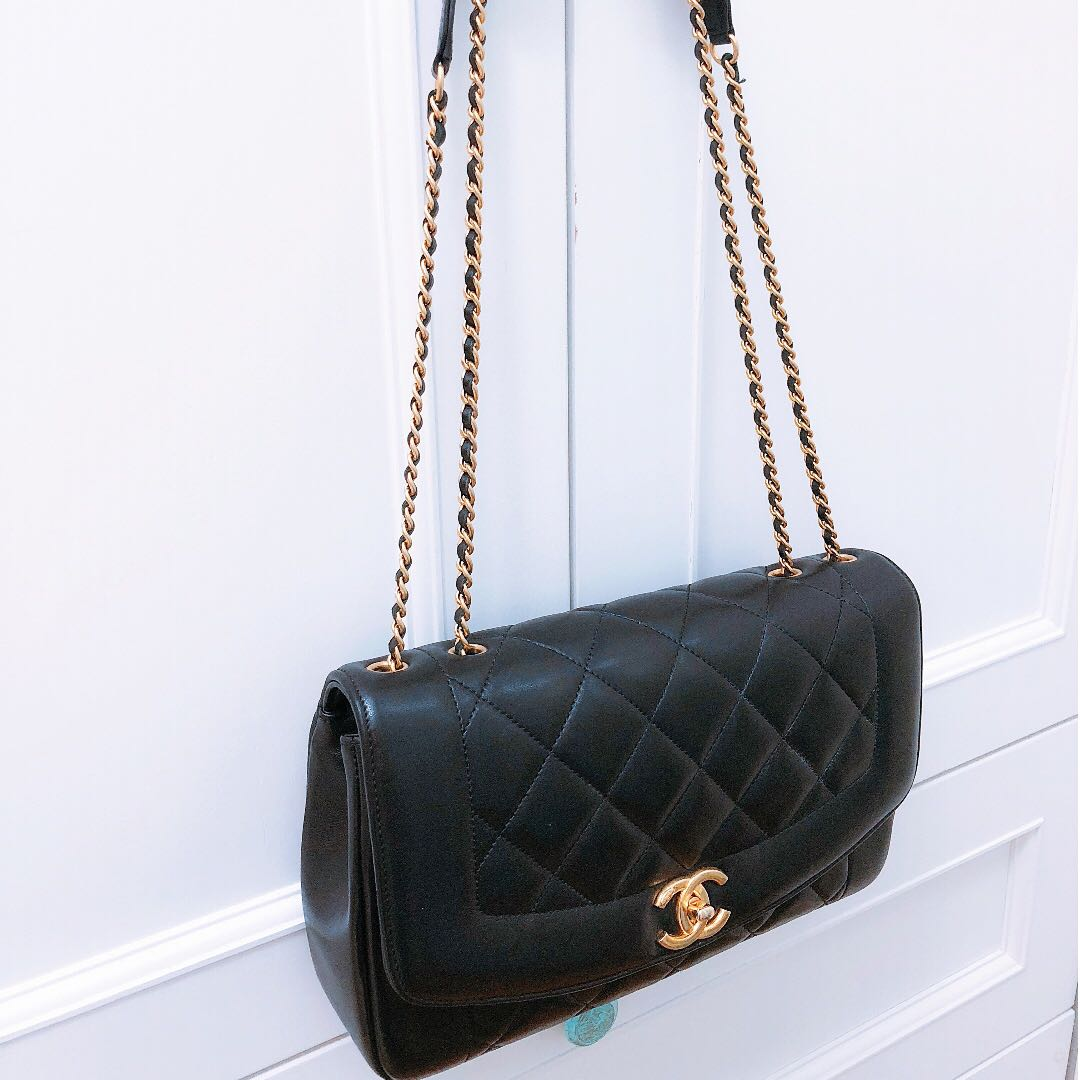0394acc15633b8 Chanel DIANA vintage reissue flap bag - black lambskin, medium ...