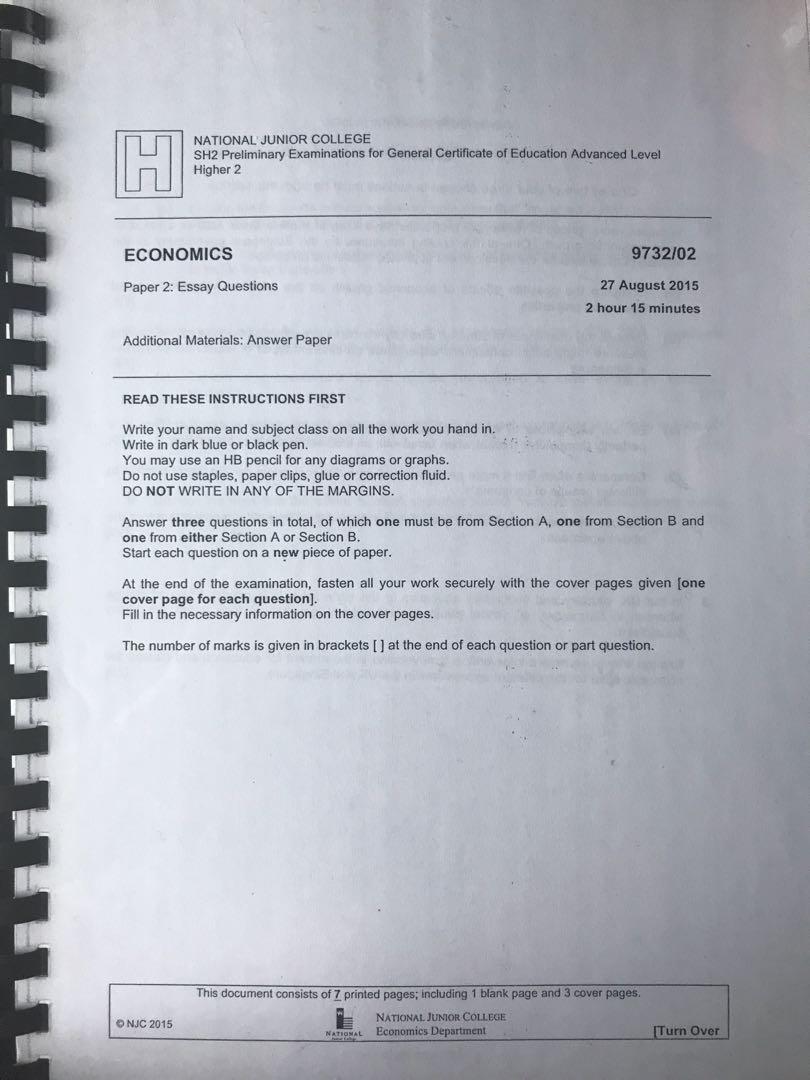 H2 economics essay questions