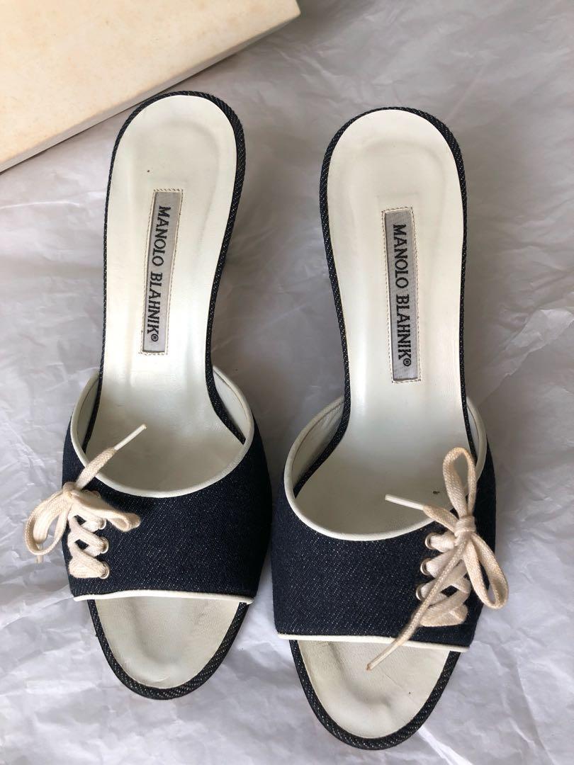 858b2ec94c740 Manolo Blahnik Xylonew Denim Dark Blue, Women's Fashion, Shoes ...