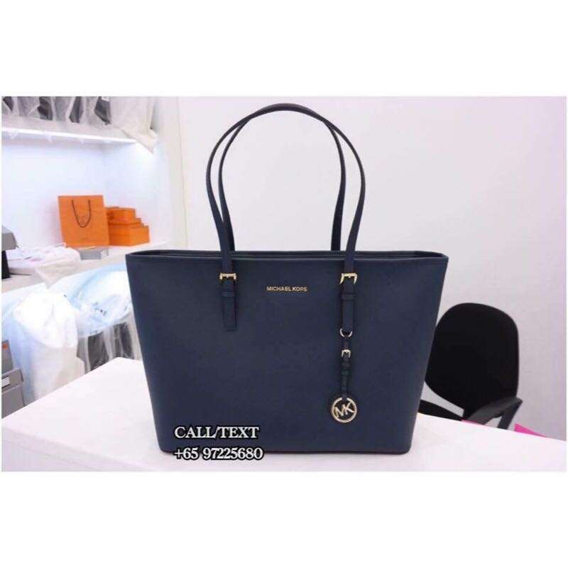 3a839f0519fb Michael Kors Jet Set Travel Saffiano Leather Top-Zip Tote Navy GHW ...
