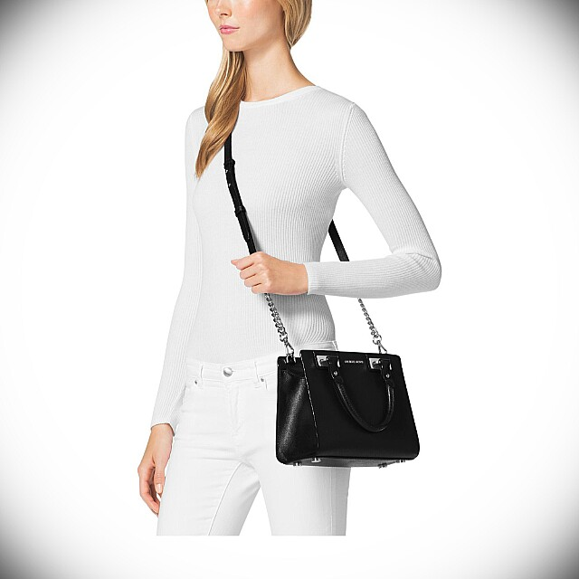 0b1e55d3839d Michael Kors Quinn Leather Satchel Handbag (Black)