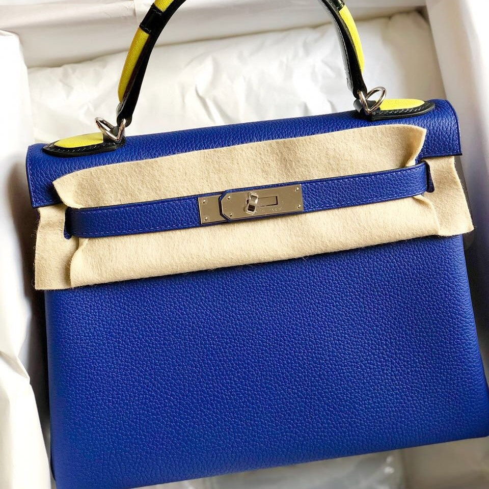 74505c393ec4 ... closeout new hermes kelly 28cm blue electric au galop togo phw limited  edition luxury bags wallets ...