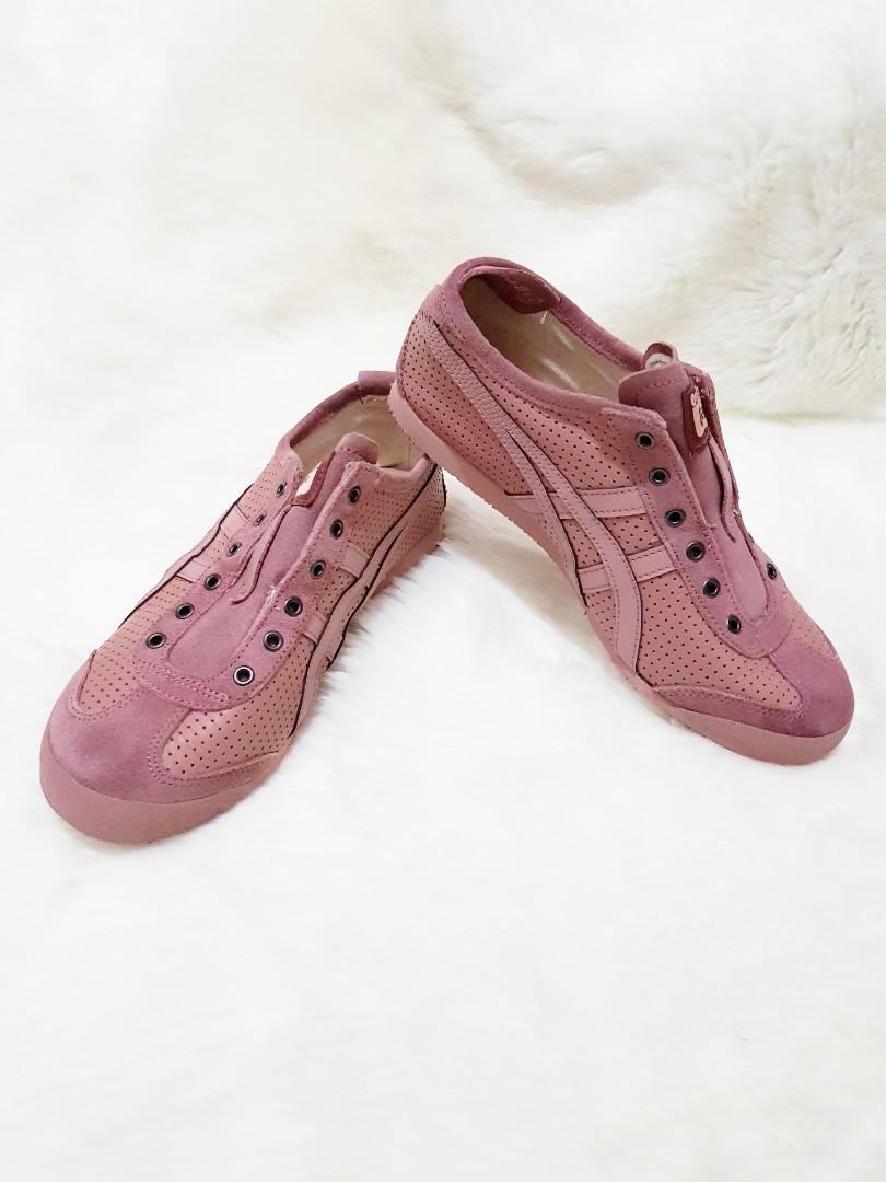 Onitsuka Tiger Suede Leather Pink Fesyen Wanita Sepatu Di Carousell