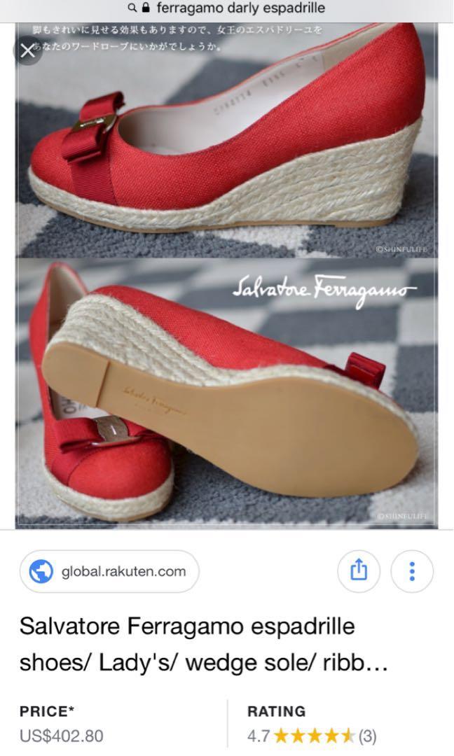 7819feea6a6 Original Salvatore Ferragamo Espadrille Wedge Shoes