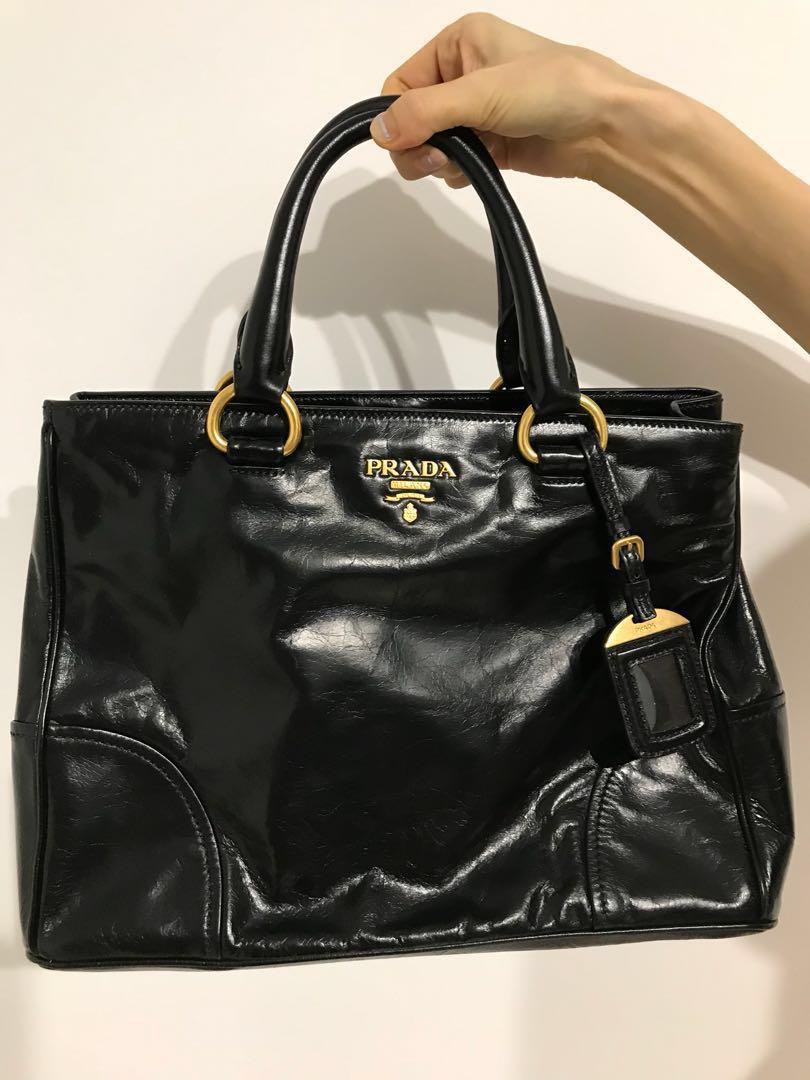 dc64a3cd7d06 Prada Vitello Black Shiny Leather Bag, Women's Fashion, Bags ...