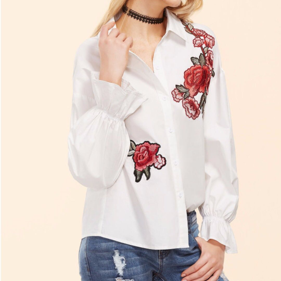 69fa651fd186f7 SHEIN Embroidered Flower Ruffle Sleeve Blouse (White)  payday30 ...