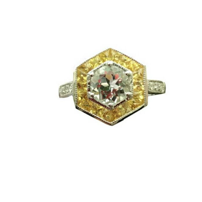 3988b75bd03 Vintage designer 14K Solid White Gold Women Engagement Ring Natutal ...