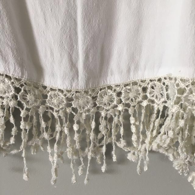 White Singlet Top with Crochet detailing
