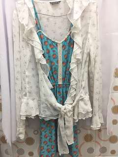 [NEW] Cardigan Outer Pendora White Flower