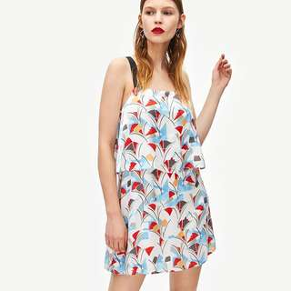 🚚 European and American style fit stitching printing strapless sleeveless A-type dress