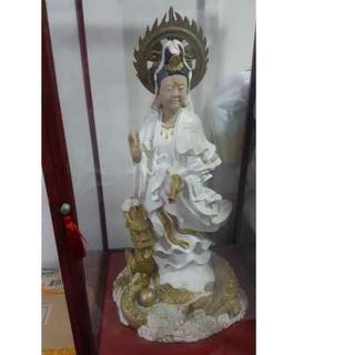 Goddess of Mercy (Kwan Im) Statue with glass casing
