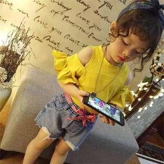 🚚 韓版女童裝挖肩荷葉袖素面衫
