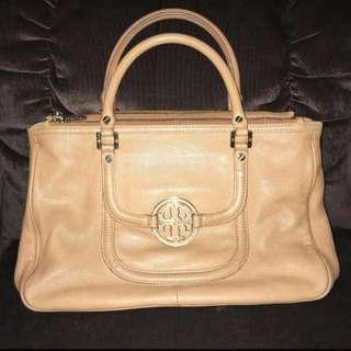 Repriced! Original Tory Burch Amanda  Double Zip Satchel Tote Bag Tan Authentic