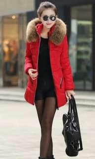 BN Women Red Winter Coat with fur hat