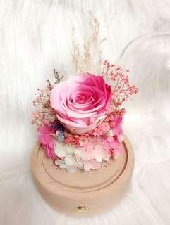 🈹💕藍牙喇叭 永生花 可插卡 會發光 玻璃罩 真花 保鮮花 永不凋謝花 送禮 父親節禮物 520 玫瑰 水晶球
