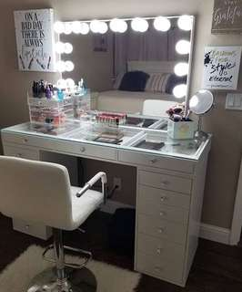 Vanity station (Hollywood frameless mirror, glass top table and stool)