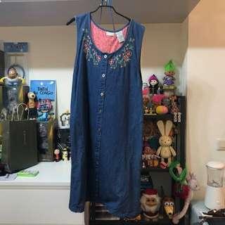 🚚 二手出清 日本帶回 vintage 牛仔刺繡短洋裝