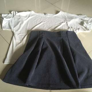 SET! White frilly sleeved top + Blue striped skirt
