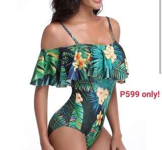 Swimwear: Off-shoulder, one-piece