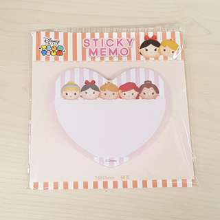 Disney Tsum Tsum Princess Pink Colour Heart Shape Sticky Memo Writting Note Pad
