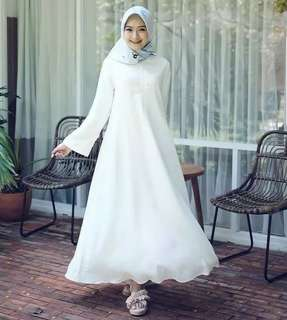 Long white dress murah white l atasan fashion baju muslim gamis putih gamis white baju lebaran