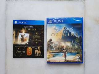 assassin's creed origins ps4& collector figures.