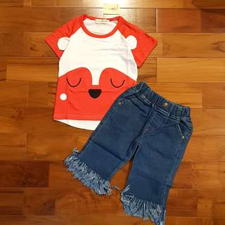 Red smiley bear set jeans