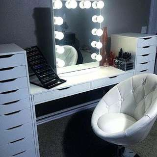 Vanity table, mirror, drawers and stool