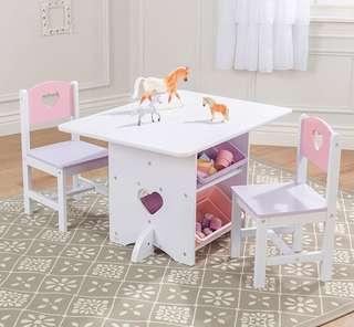 (PO) BN KidKraft White Heart Table Set with Pastel Bins - Purple & Pink