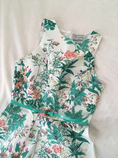 Floral Dress with Green Belt
