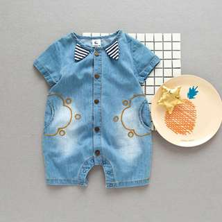 🚚 ✔️STOCK - PREMIUM VINTAGE BLUE JEANS STRIPE COLLAR UNISEX NEWBORN BABY TODDLER BOY/GIRL ROMPER ONESIE KIDS CHILDREN CLOTHING