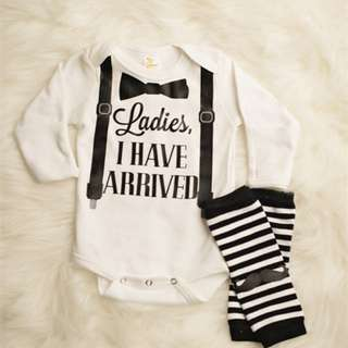 🚚 ✔️STOCK - WHITE LADIES I HAVE ARRIVED LONG SLEEVES ROMPER & MOUSTACHE STRIPE HIGH SOCKS SET NEWBORN BABY TODDLER BOY ONESIE KIDS CHILDREN CLOTHING