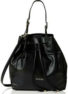 GUESS BUCKET BLACK  WITH LONG STRAP & SHOULDER STRAP