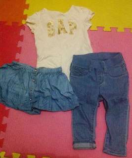 Gap skirt, onesie, jeans