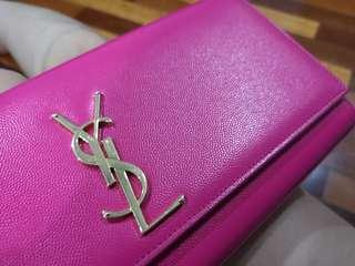 Pink YSL Leather Clutch