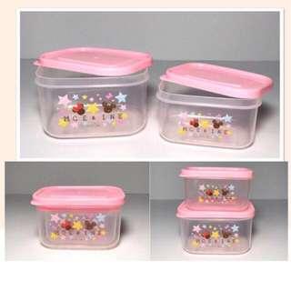 🚚 🌸日本帶回 米奇米妮 小型食物保鮮盒/食物分裝盒2入組