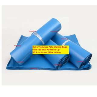 Extra Thickness Poly Mailing Bags with Self Seal Adhesive Lip 30.5 x 43.4 cm (Blue colour)
