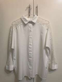 White 3/4 Blouse