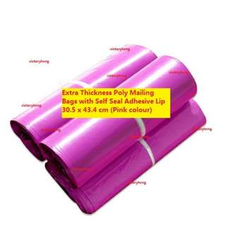 Extra Thickness Poly Mailing Bags with Self Seal Adhesive Lip 30.5 x 43.4 cm (Pink colour)