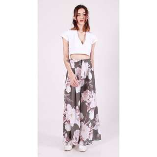 [PO] FLORAL BLOOM FLARE PANTS in ASH GREY