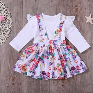 🚚 [PRE-ORDER] Baby Girls Long Sleeve Top Floral Brace Skirt Two-Pieces Suit Casual Dress Set